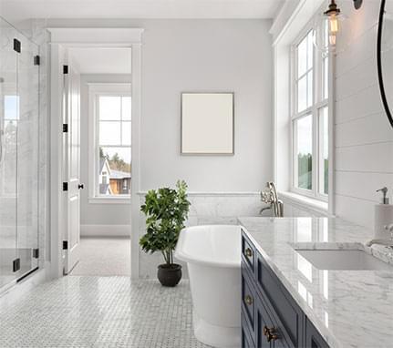 Bright modern spacious bathroom